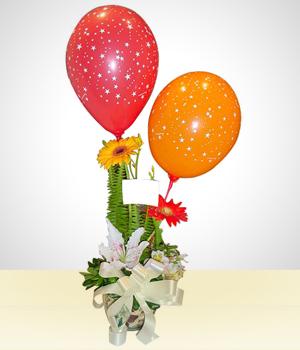 Arreglo Feliz Cumpleaños Flores Con Globos Globos