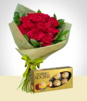 Ocasiones - Bouquet de Rosas y Chocolates