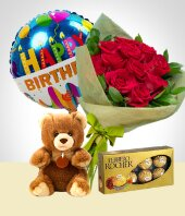 Globos y Peluches - Bouquet + Peluche + Chocolates + Globo