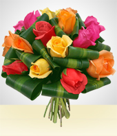 Regalos Corporativos - Bouquet Ensueño: 12 Rosas Multicolores